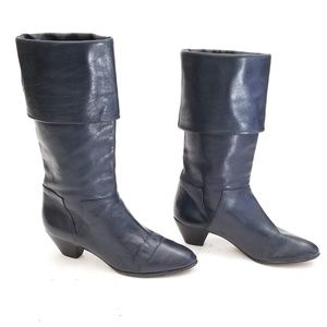 Blue Grey Leather Boots Size 7B